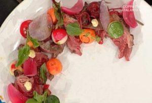 Ricette La prova del cuoco: roast beef con petali di Marco Bottega